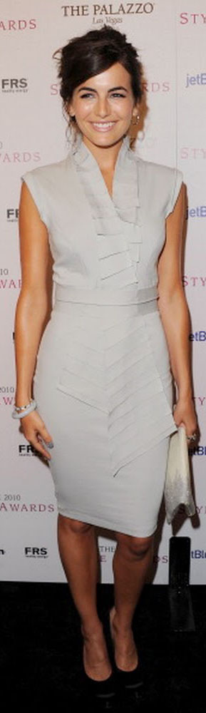 Camilla Belle Wears A Demure Gray Kimberly Ovitz Dress With