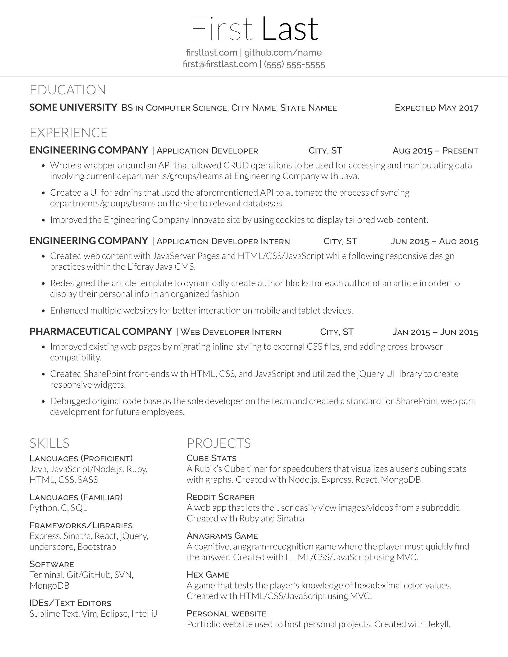 Resume Word Template Reddit