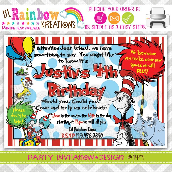 THE CAT IN THE HAT PARTY INVITATION | INVITATIONS | Pinterest | Hat ...