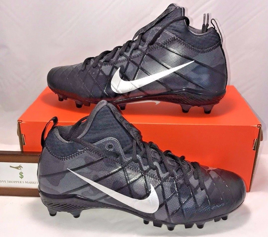 NIKE MENS SIZE 10 FIELD GENERAL ELITE TD FOOTBALL CLEATS BLACK SILVER RARE
