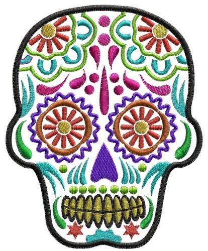 Sugar Skull Day Of The Dead Machine Embroidery In 3 Sizes