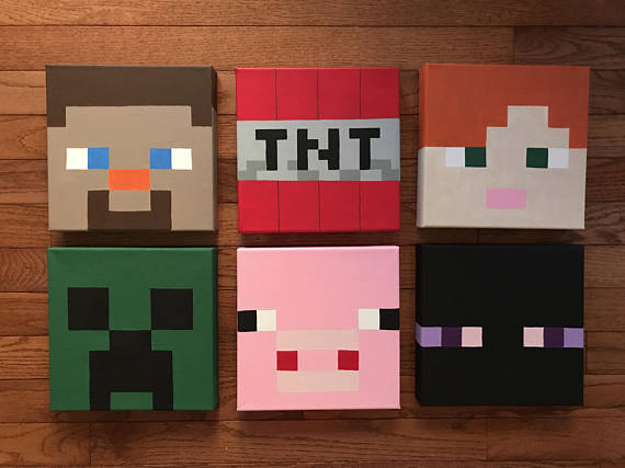 Minecraft Inspired Characters 8x8 Canvas Etsy Painting Minecraft Minecraft Crafts Minecraft Room