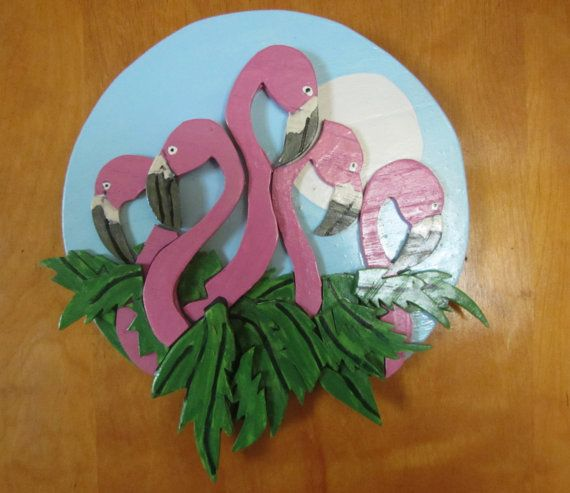 Handmade custom painted wooden  3 dimensional Tropical Flamingo wall plaque