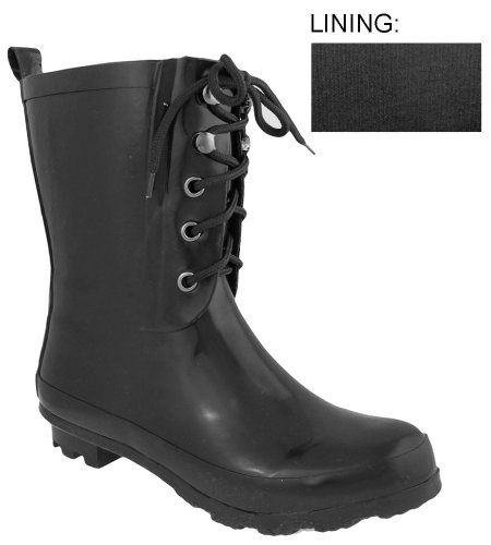 Capelli New York Eyelets And Laces Ladies Short Fisherman Body Rubber Rain Boot Capelli New York. $19.95