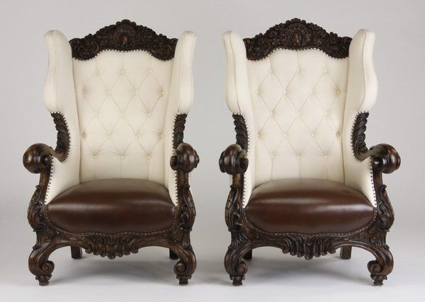 (2) Oversized Carved Mahogany Wingback Chairs