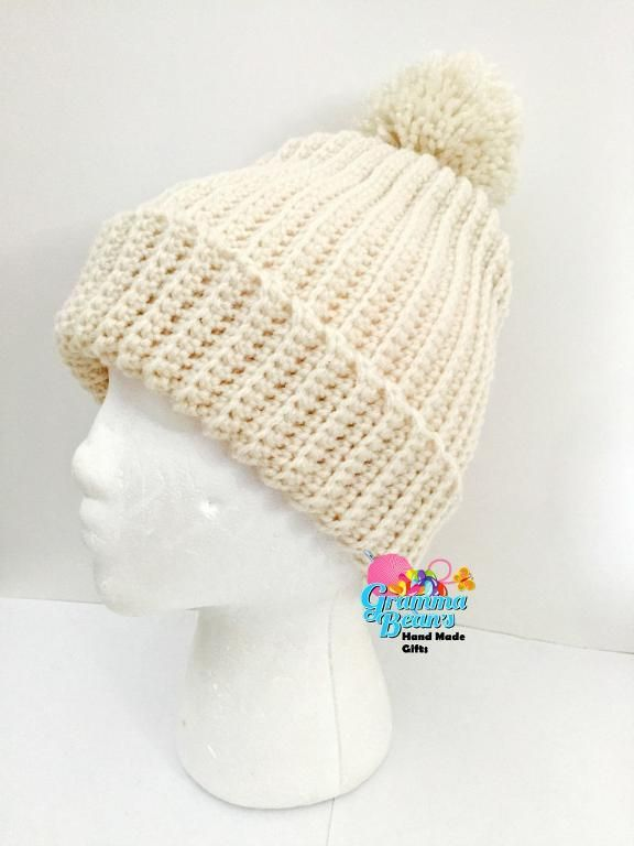 Looking for your next project? You're going to love Ribbed Knit Look Beanie by designer GrammaBeans.