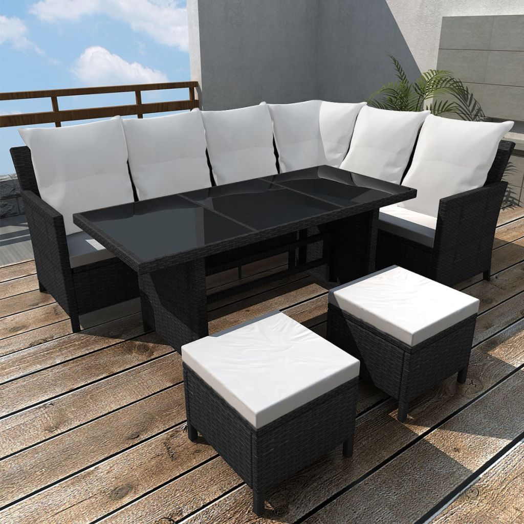 Garden Rattan Corner Sofa Set Stools Large Table Outdoor Patio