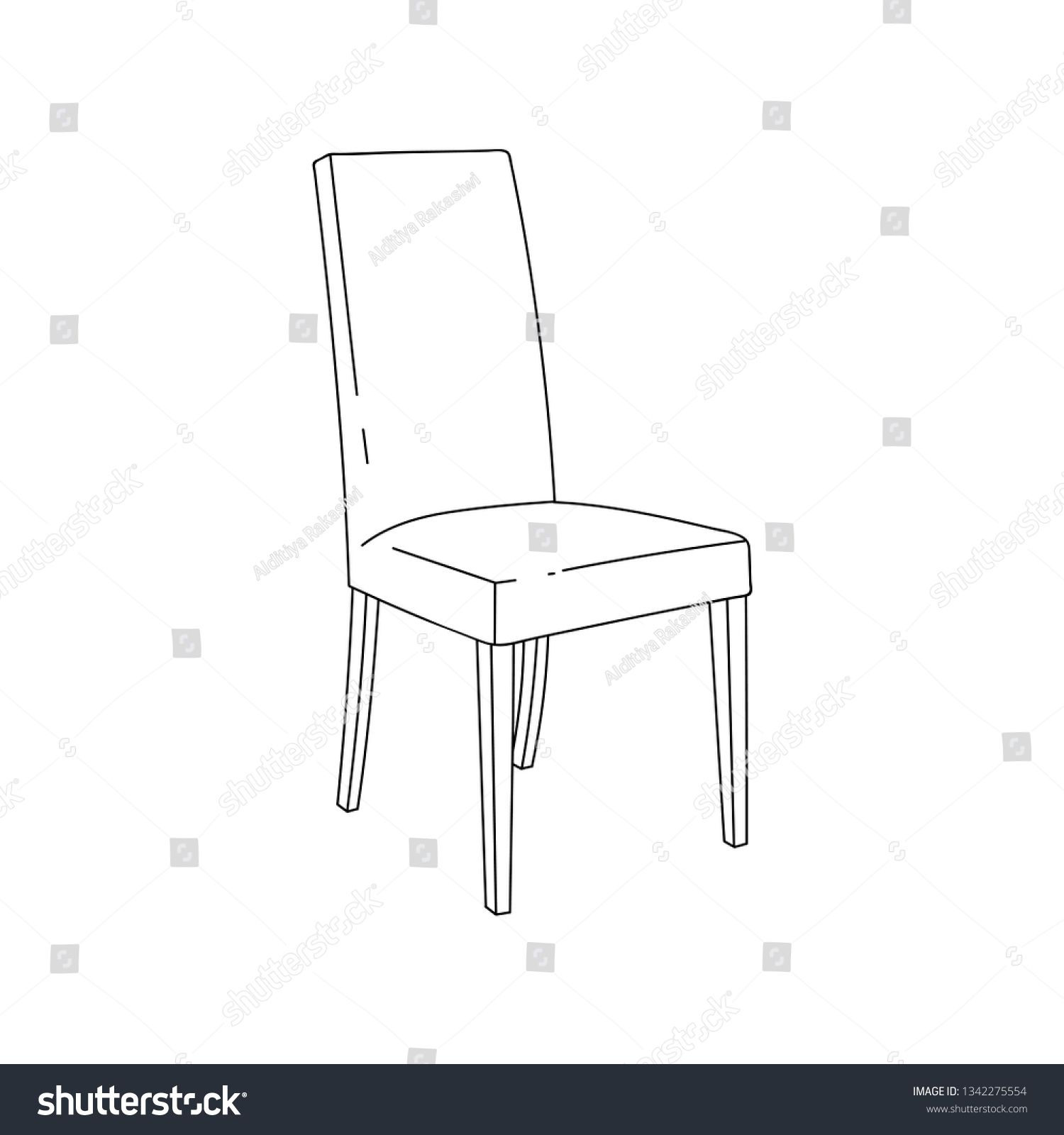 Plastic Chair Outline On Vectorstock Plastic Chair Chair Outline Drawings