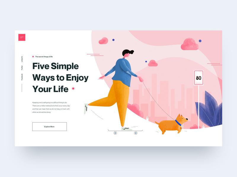 Enjoy Your Life Illustration Illustration Design Web Layout Design Web Development Design
