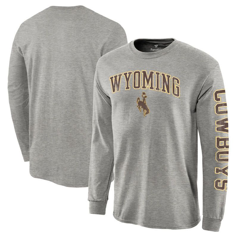 purchase cheap 4d1a4 8a588 Wyoming Cowboys Fanatics Branded Distressed Arch Over Logo Long Sleeve Hit T -Shirt - Gray