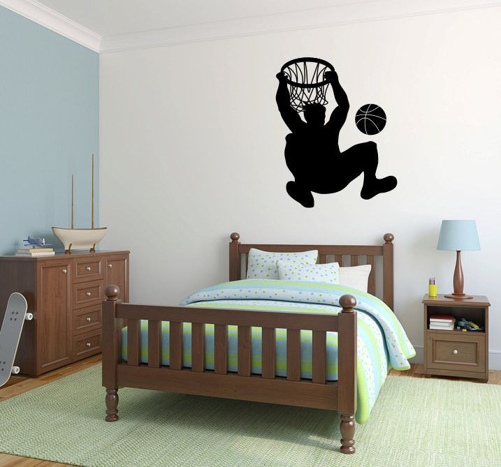 Basketball Player and Goal Hoop Vinyl Wall Decal Sticker Graphic