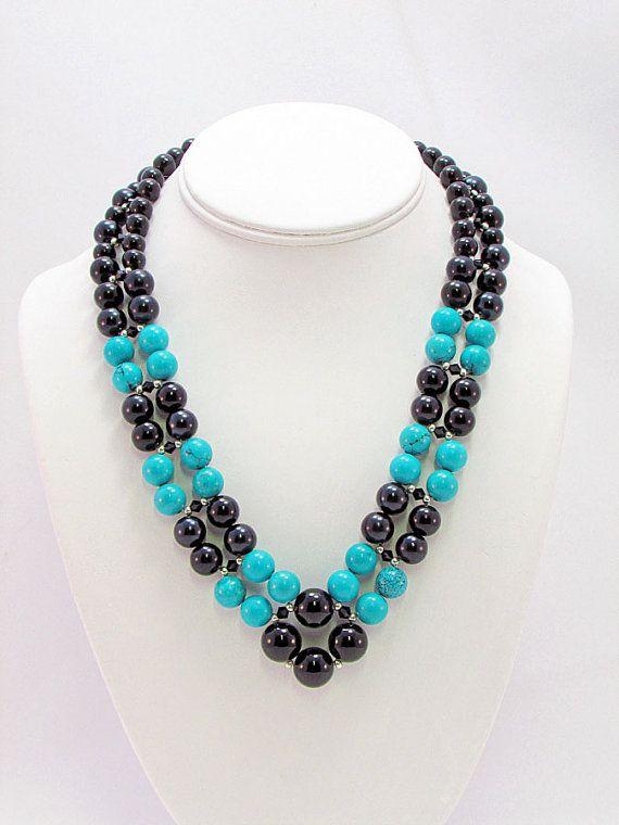 dc78df0d4458 Turquesa y perla tejido collar. Turquesa