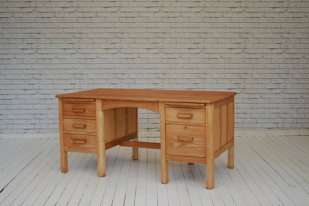 A Light Oak 1950 S Twin Pedestal Desk Desk