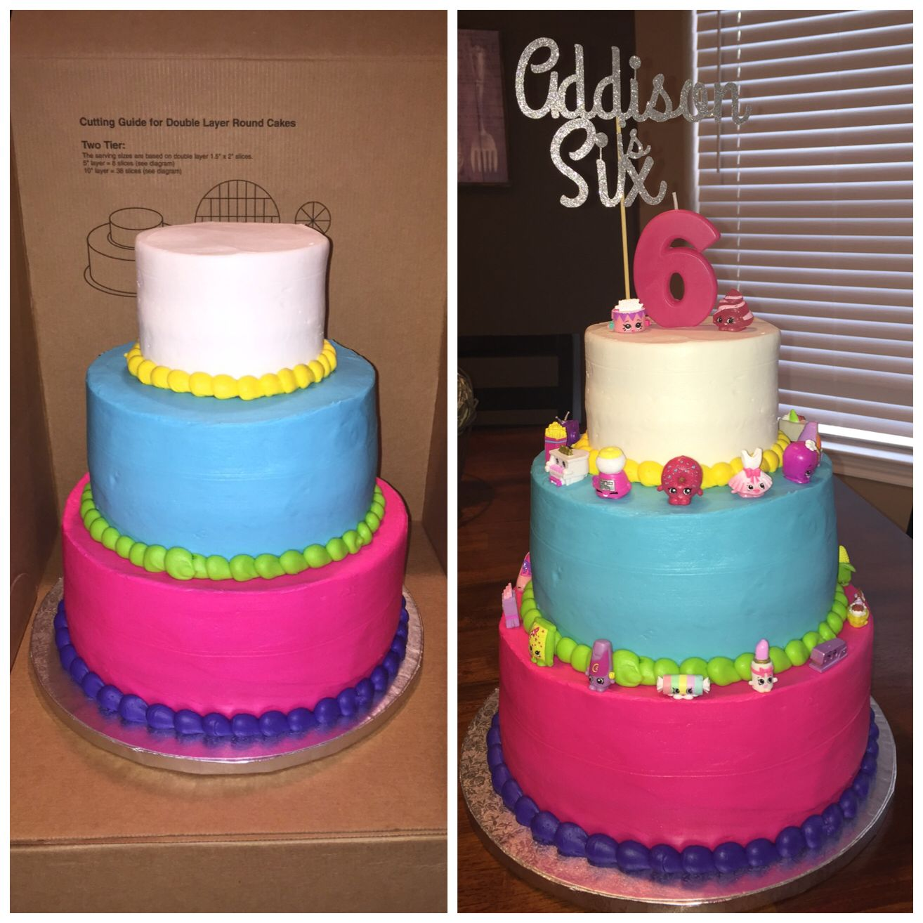 Sams Club Cake Design Book : Shopkins Cake. Ordered 3 tiered cake from Sam s club and ...