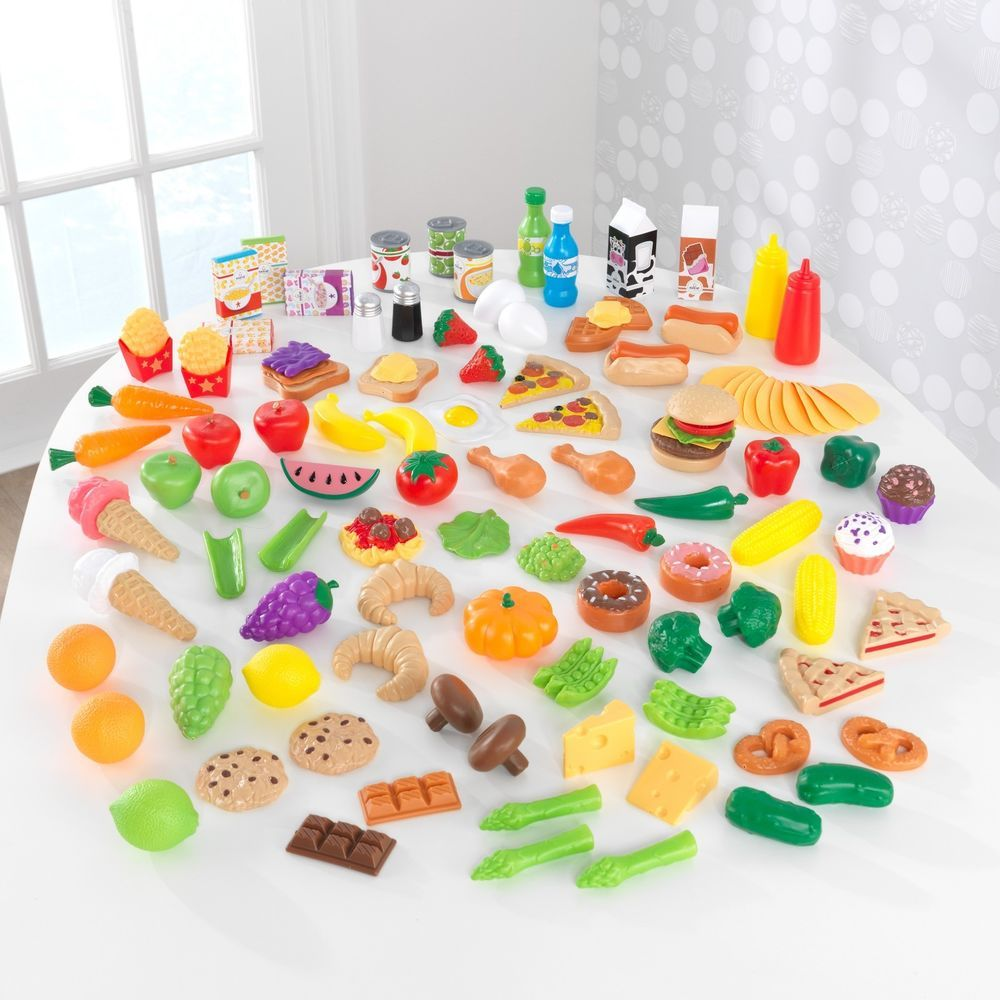 play kitchen food set fruit vegetables snacks pizza 115 pieces for