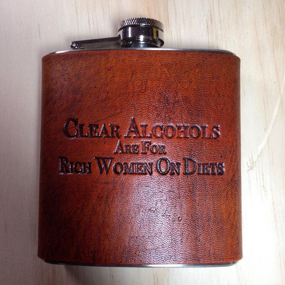 Custom Leather Hip Flask Ron Swanson Quote, Gift for him, Mens ...