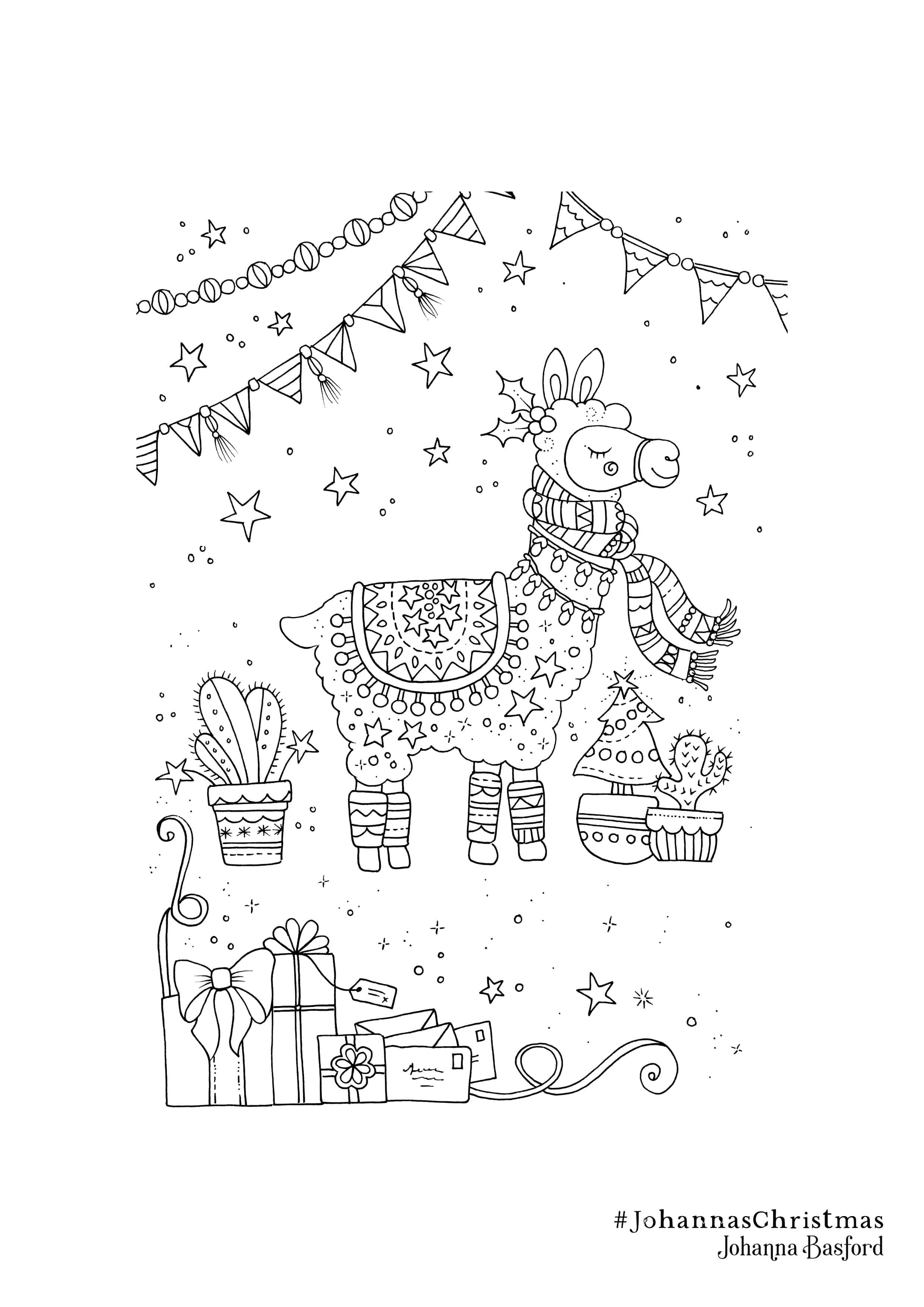 free download christmas lama Penguin coloring pages
