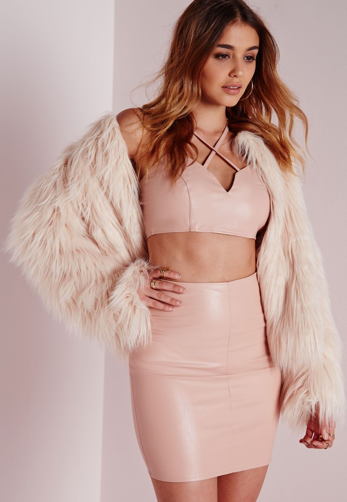 Missguided - Faux Leather Mini Skirt Nude | outfits | Pinterest ...