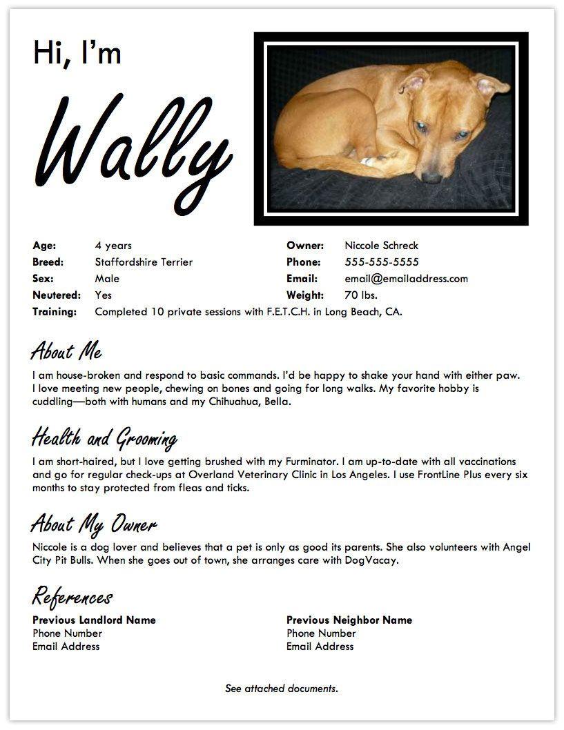 Landing a DogFriendly Apartment Create a Pet Resume