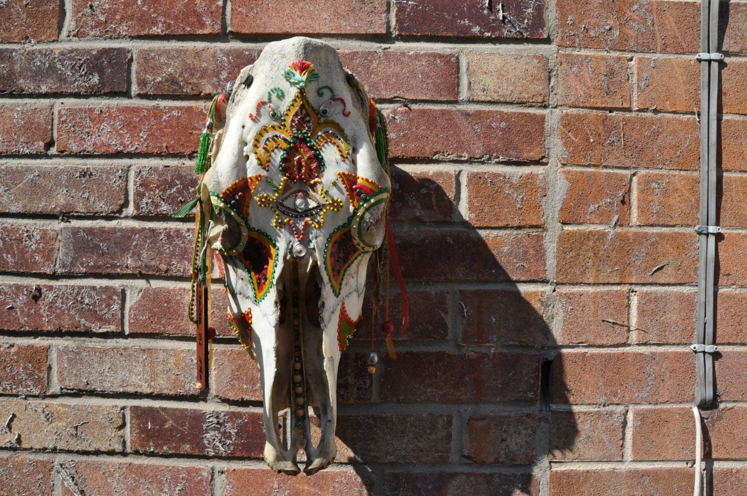 Very large skull wall hanging highly decorated by artisdeaddesign