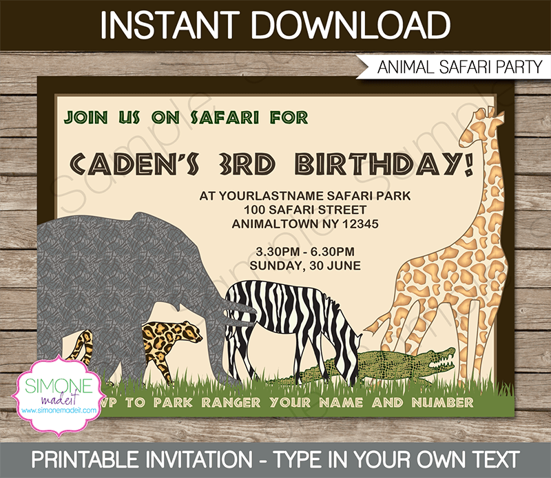 Safari or zoo party invitations template party invitations zoo party invitations animal safari jungle birthday party editable diy theme template stopboris Choice Image