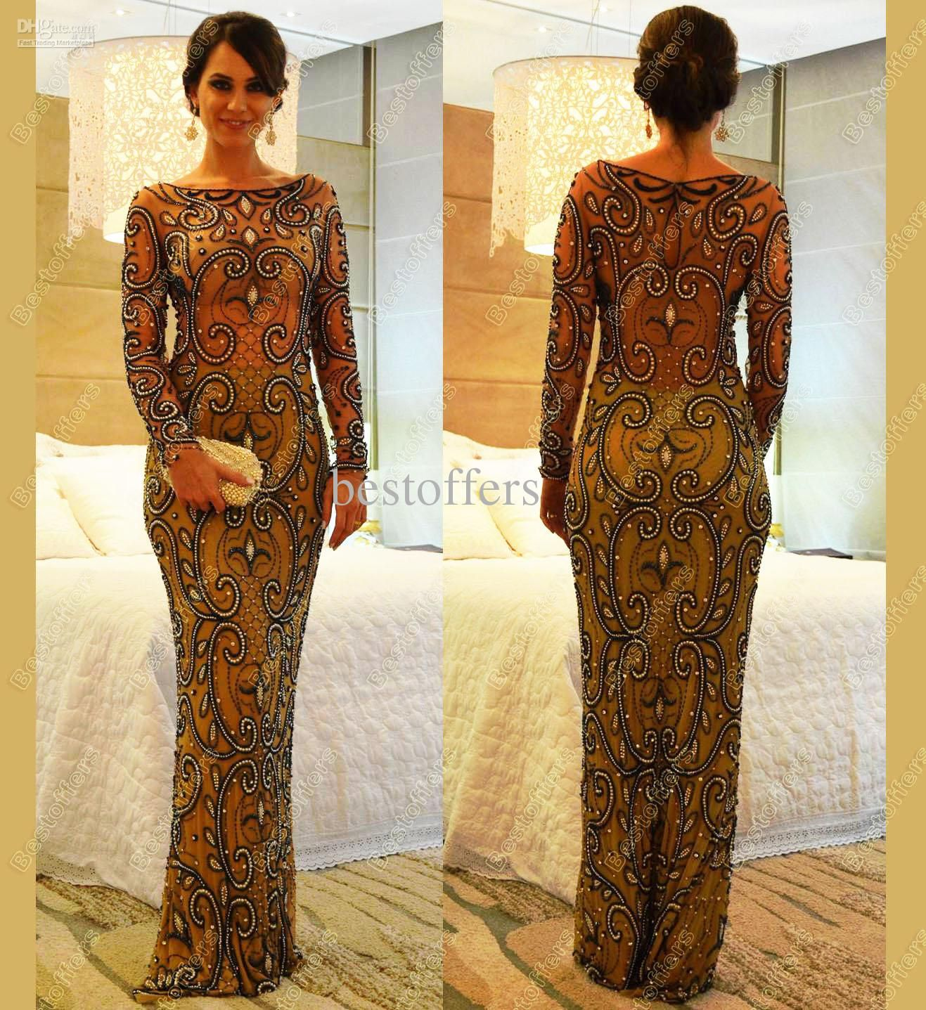 long evening dresses long sleeves champagne illusion sheath