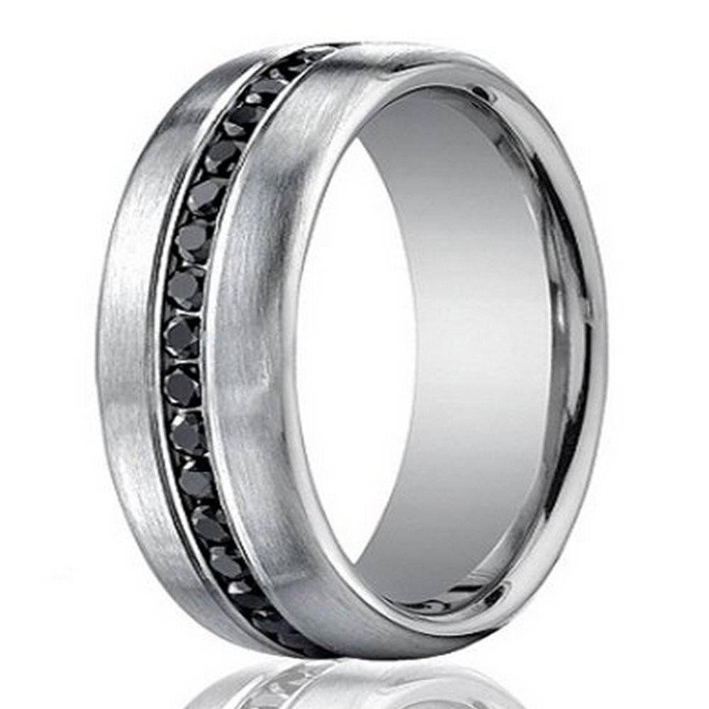 Designer k white gold menus eternity band black diamond mm