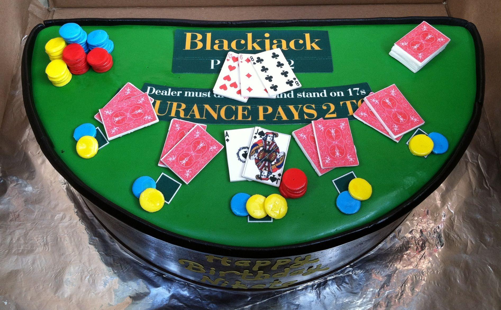 Blackjack table cake poker gambling cake casino party