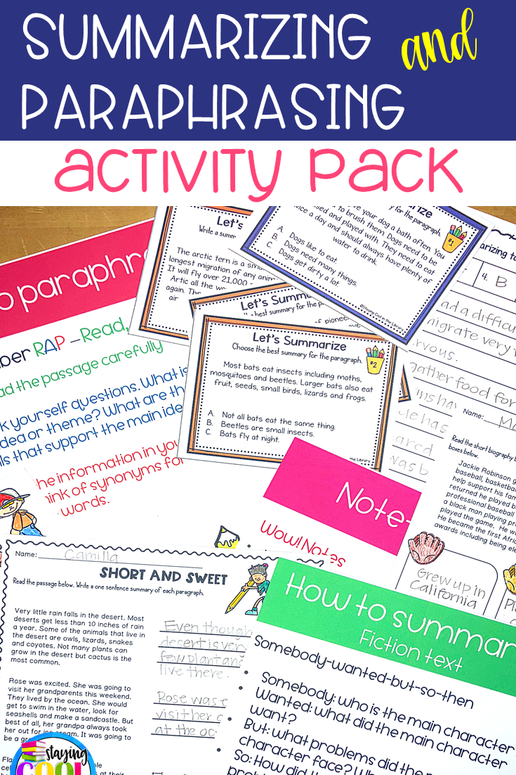 Summarizing And Paraphrasing Activitie Research Skill Library Lesson Plans Activity In