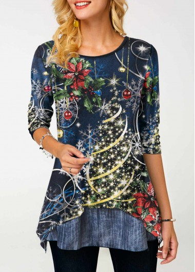 Asymmetric Hem Sequin Embellished Christmas Print T Shirt