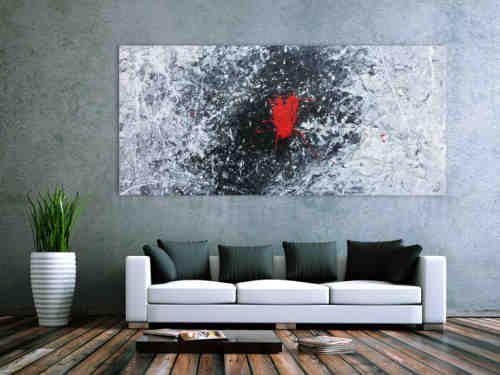 abstraktes acrylgemalde in schwarz weiss grau und rot abstrakt bild abstrakte bilder kaufen schwedische künstlerin