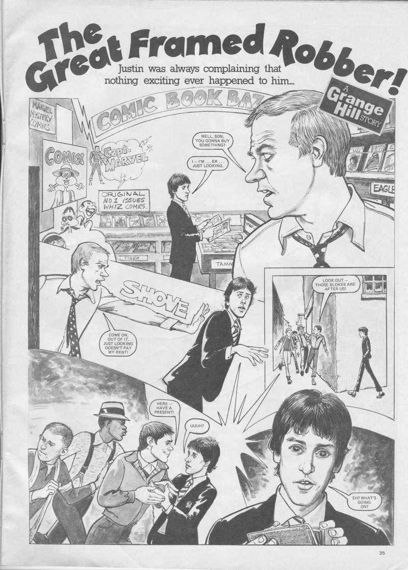 Myself cartooned for the Grange Hill Magazine Classic