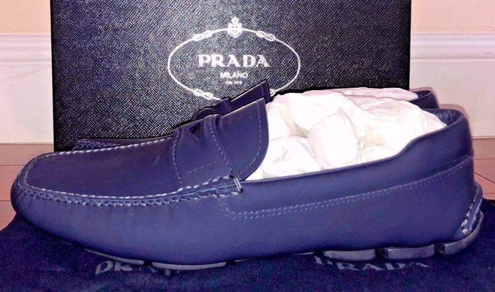 Prada Mens Blue Leather And Vit Rubber
