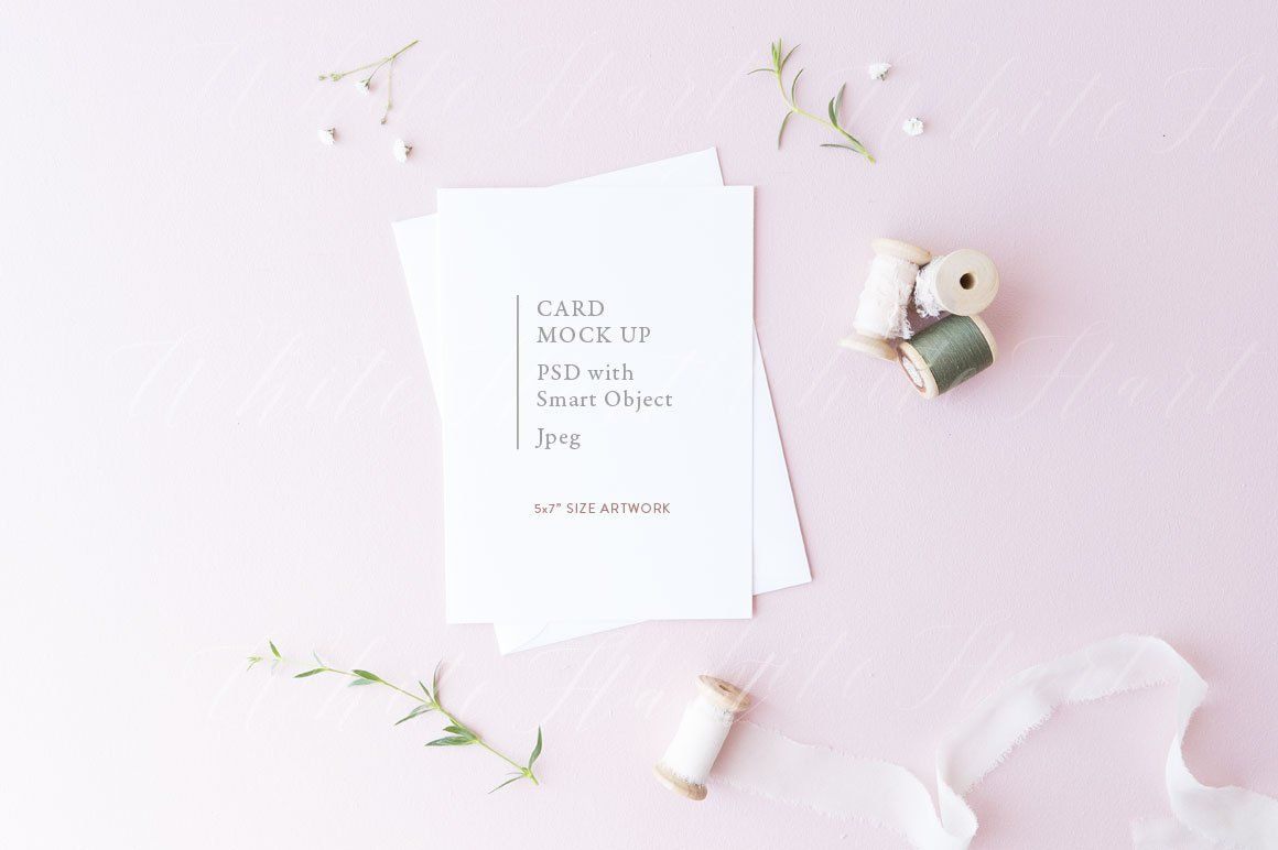 5x7 spring floral card mock up with white envelope on