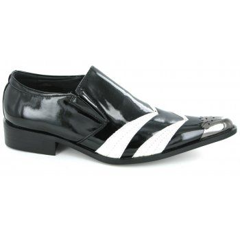 Shuperb MODENA Mens Funky Pointed Patent Shoes Black And White