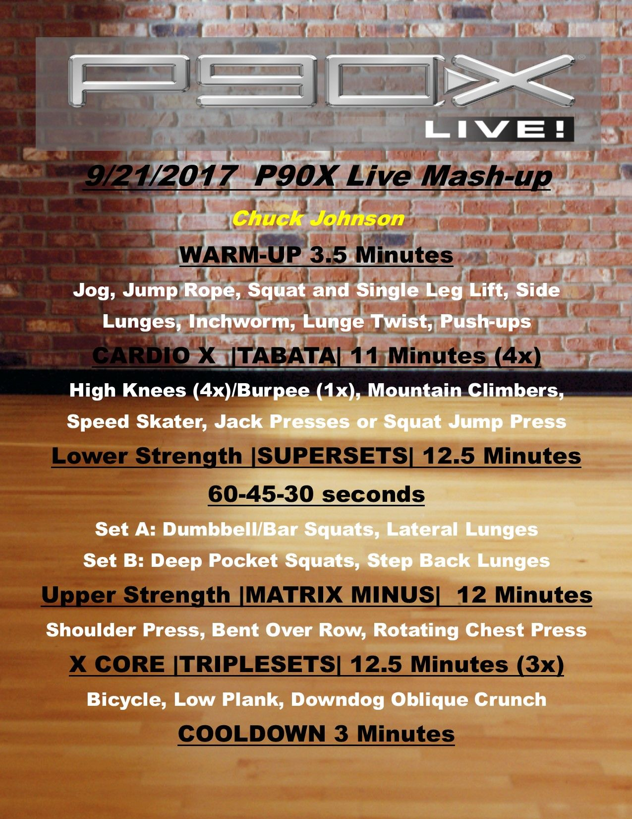 P90X Live workout Mashup  Cardio Tabata, lower and Upper