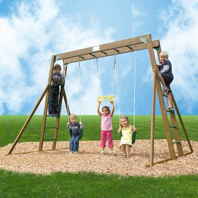 Classic Swing Set W Top Ladder Rope Accessories Includes Wooden