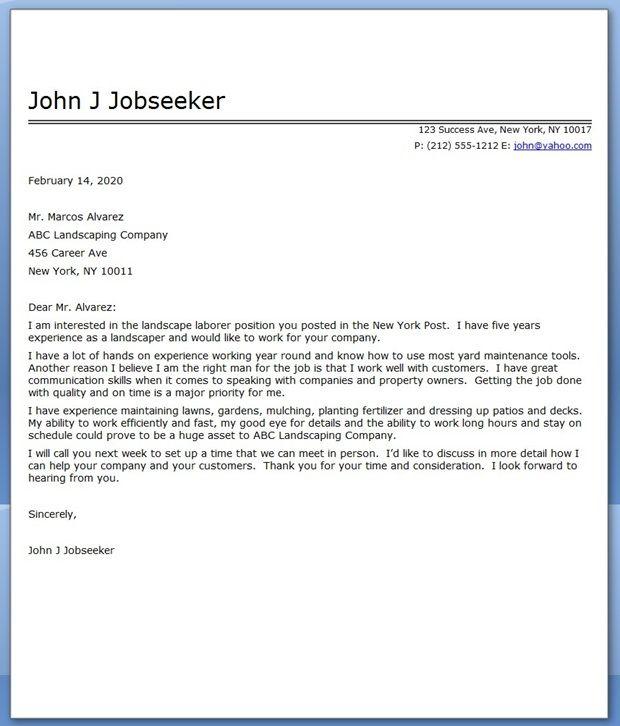 Landscape Cover Letter Sample Cover Letter For Resume Cover Letter Sample Job Cover Letter