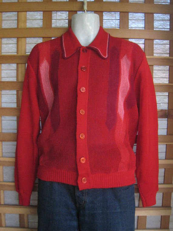 Mens 50s 60s COOL ALPACA Cardigan SWEATER 44 Chest by