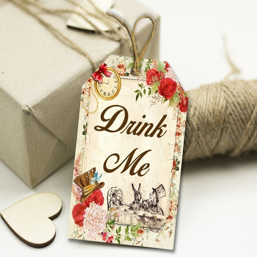 Alice in Wonderland Drink Me Tags, Toppers, Wedding Favors, Mad ...