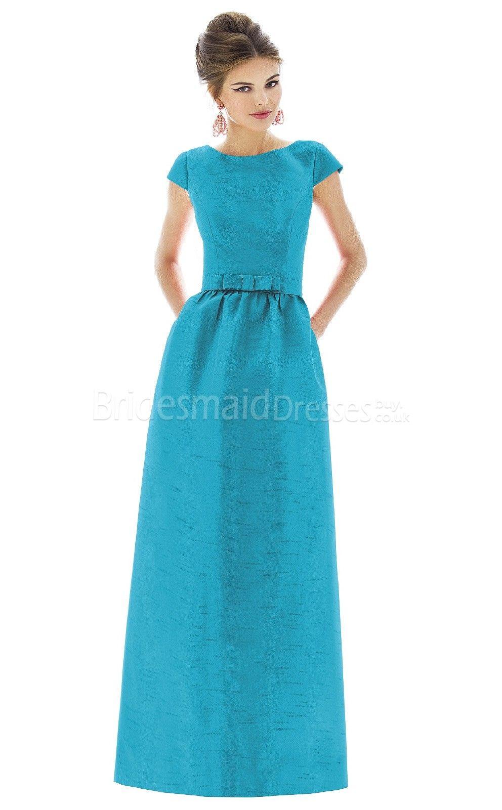 Ocean-Blue-Taffeta-Princess-Scoop-Floor-length-Short-Sleeve ...