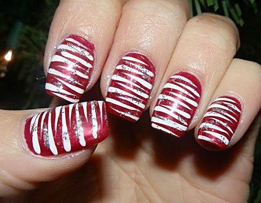 Enjoyable And Easy Xmas Candy Cane Nail Styles Fashion Nails