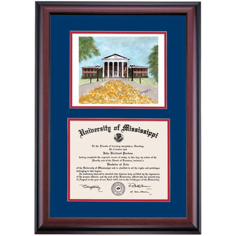 Mississippi School Color Premier The Lyceum Watercolor Diploma Frame ...