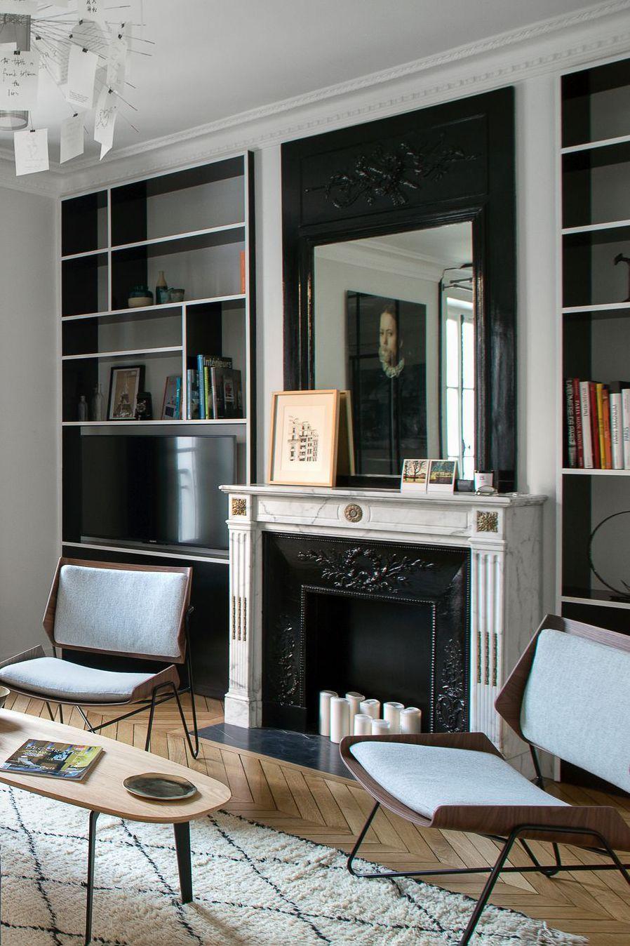D co de salon plus de 40 photos pour mettre l 39 ambiance parquet et chemin e pinterest - Cheminee interieur maison ...