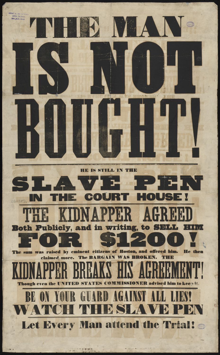 Anti Slavery Broadsides Black History Facts Wood Type Poster