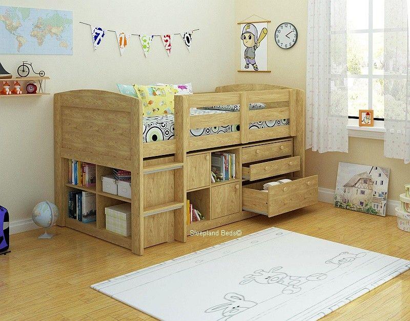 neptune storage midsleeper bed in oak cupboard bookcase and 397