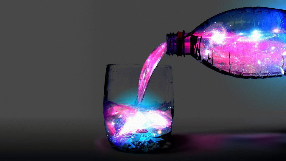 """""""Blacklight"""" drink!   9 liters tonic water 3-4 cans pink lemonade concentrate ice Mix all ingredients together shortly before the party begins. Add ice as late as possible before drinking."""