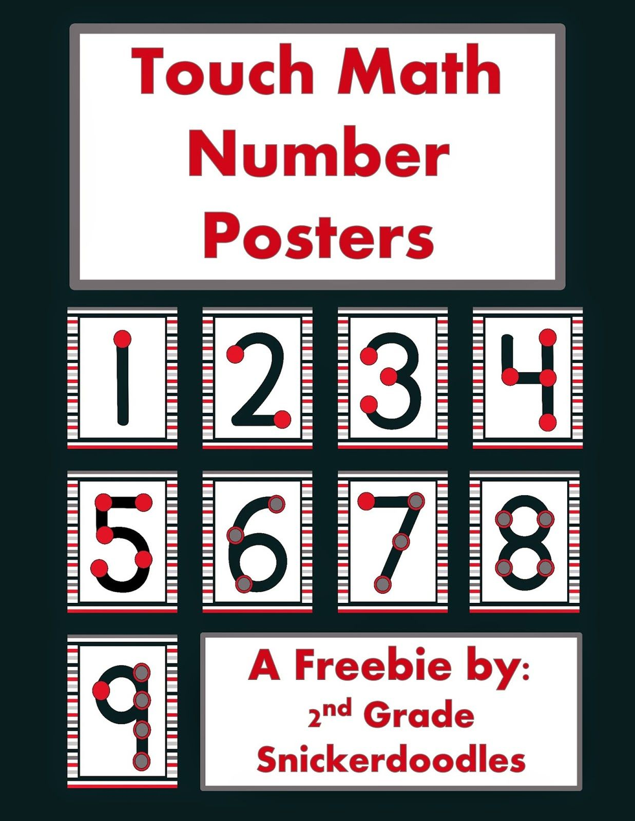 2nd Grade Snickerdoodles Touch Math Number Posters Freebie