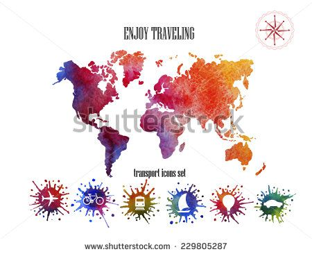 Vector watercolor world map web and mobile template corporate vector watercolor world map web and mobile template corporate website design web media backdrop travel background new design website travel icons gumiabroncs Choice Image