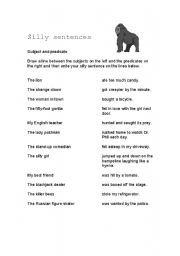 English worksheets: Silly Sentences Subjects and Predicates ...
